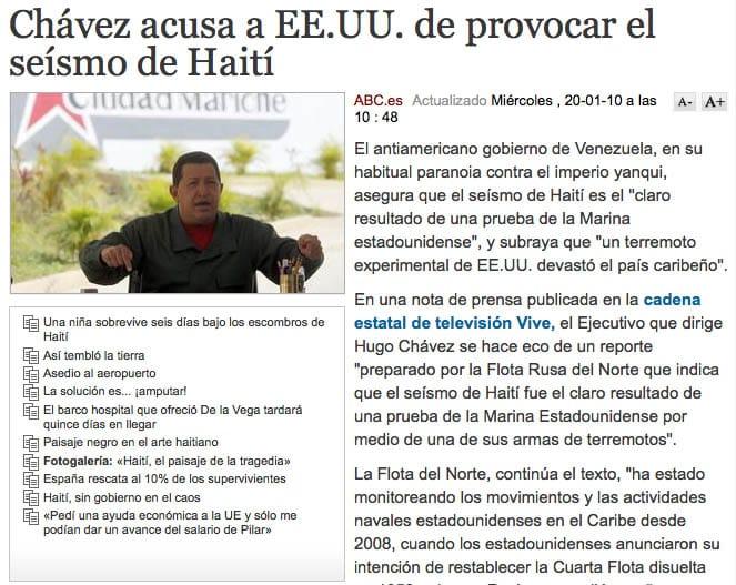 Chávez acusa a EE.UU. de provocar el seísmo de Haití