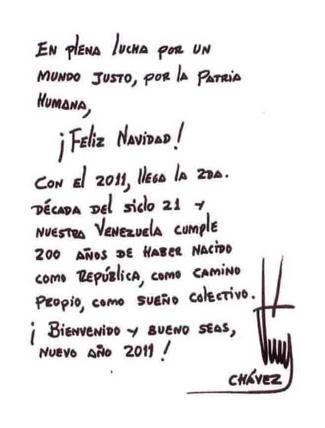 President Chávez Sends Christmas Message of Hope and Faith