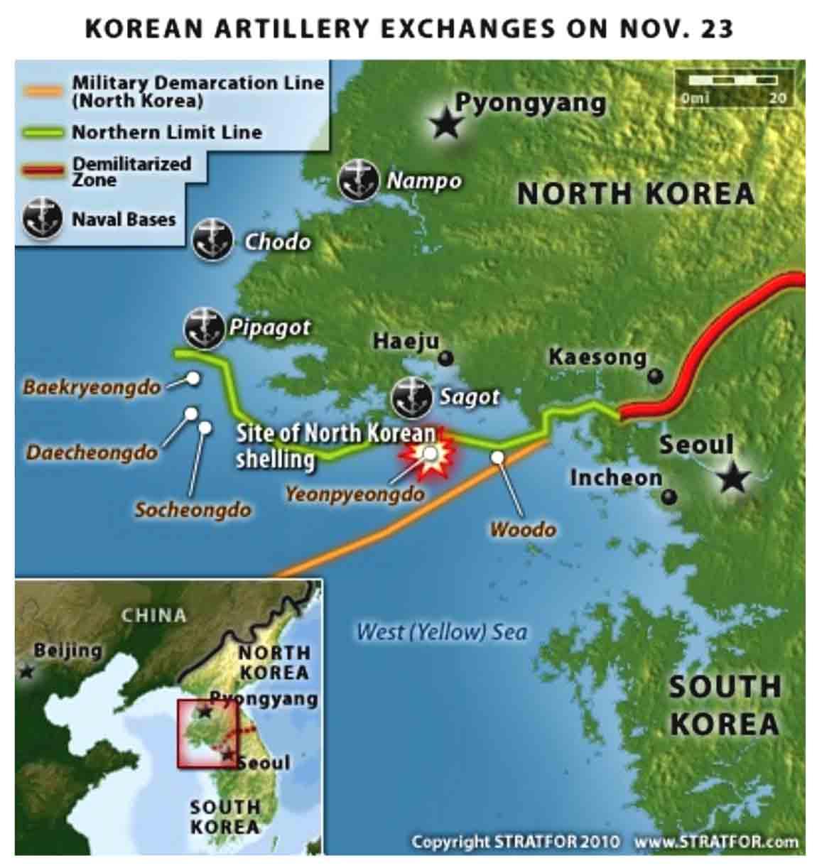 Korean Artillery Exchanges on Nov. 23