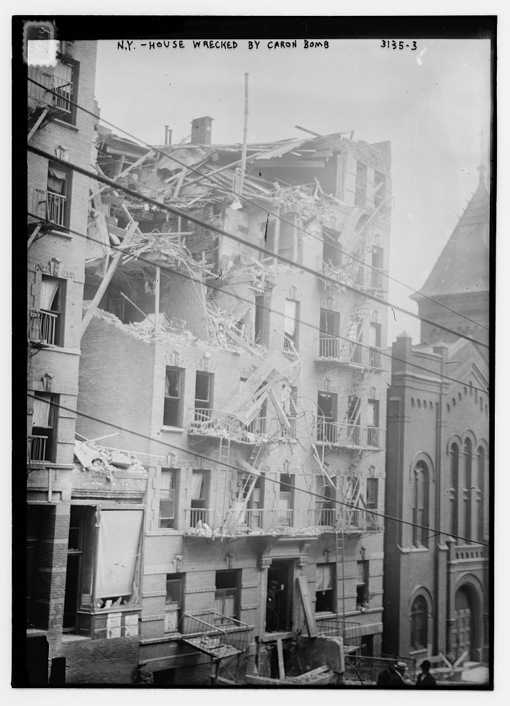 The destruction caused by a bomb at 1626 Lexington Avenue, New York City, which killed four people and injured many others