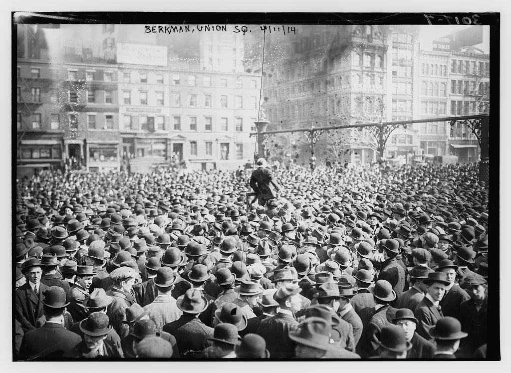 Alexander Berkman (1870-1936), an anarchist known for his political activism and writing, at an IWW (Industrial Workers of the World) rally in Union Square, New York City on April 11, 1914