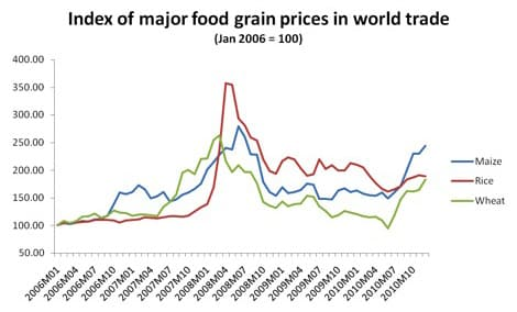 Index of major food grain prices in world trade