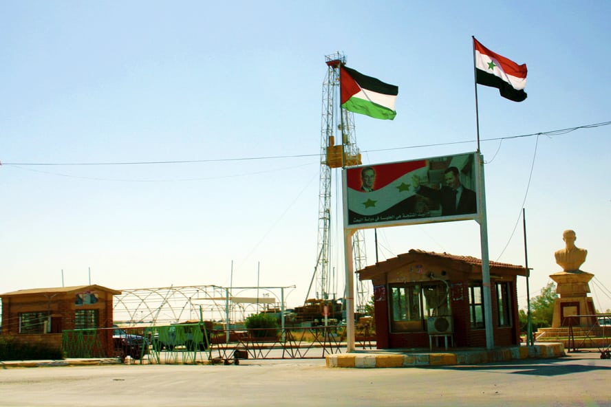 The regional branch office of the ruling Ba'ath Party in the town of al-Jawadia in Syria's north