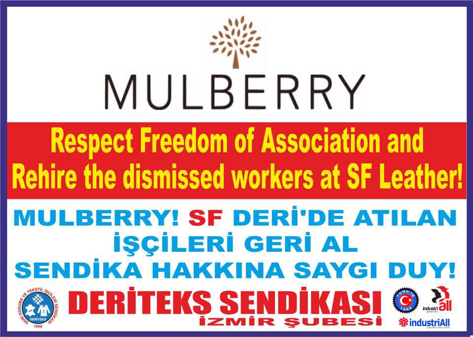 Mulberry, Respect Freedom of Association and Rehire the Dismissed Workers at SF Leather!
