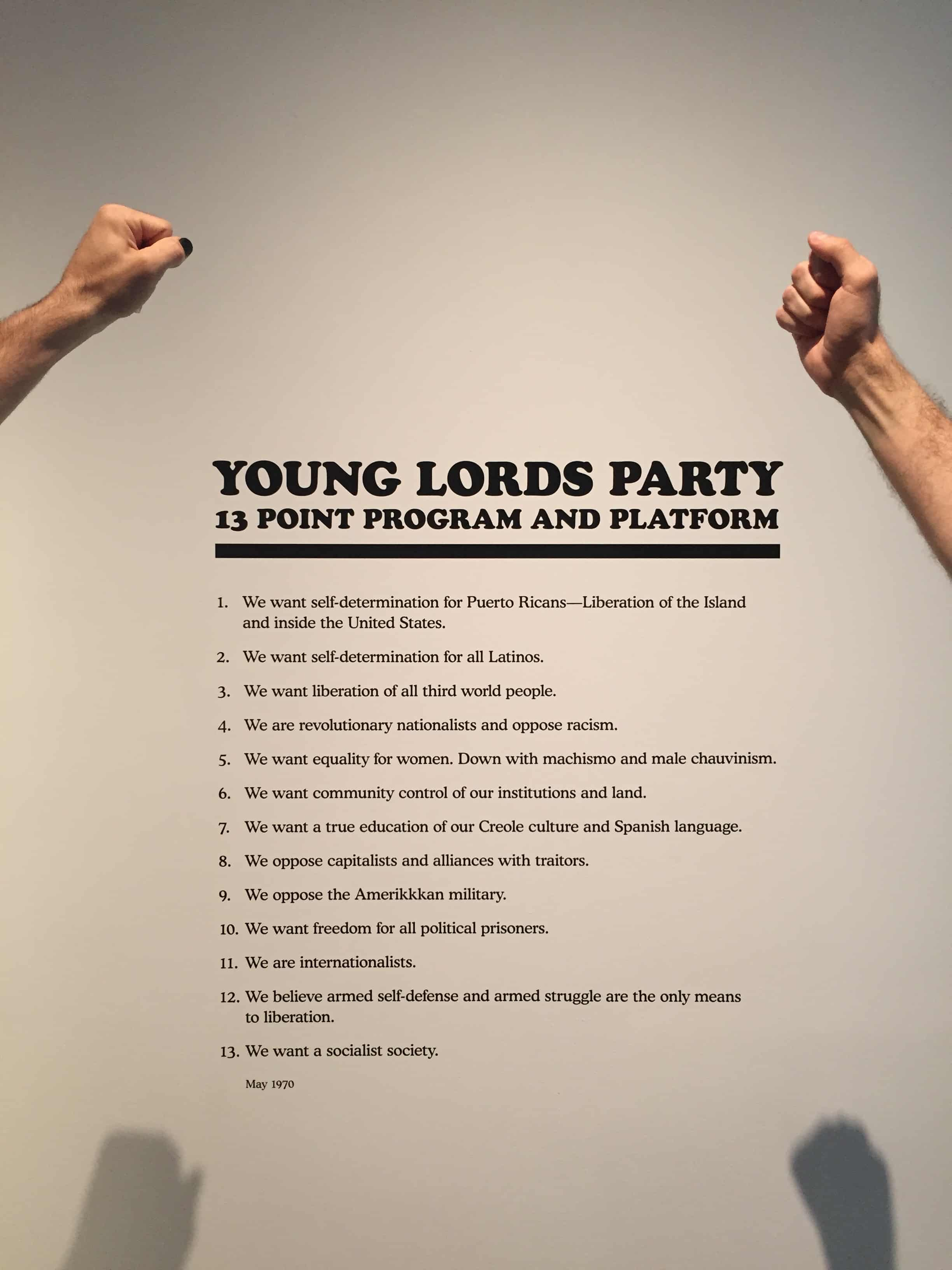 Young Lords Party 13 Point Program and Platform -- Photo by Camilo