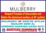 """Deriteks Sendikası (Leather and Textile Workers' Union), İzmir Branch, """"Mulberry, Respect Freedom of Association and Rehire the Dismissed Workers at SF Leather!"""""""