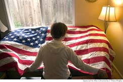 Cindy Sheehan before Casey's Bed, by Theo Rigby