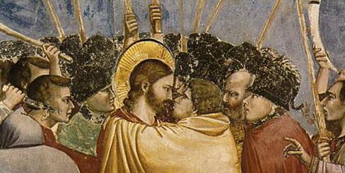 """Giotto di Bondone, """"Kiss of Judas,"""" Detail, 1304-06"""