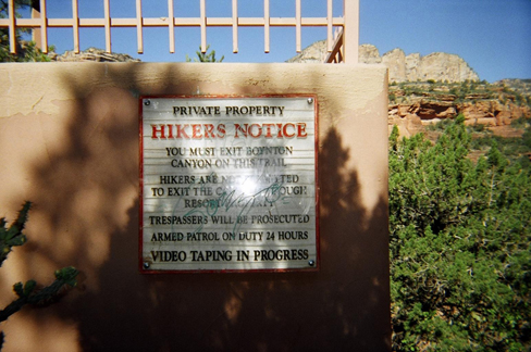 Private Property -- Hikers Notice