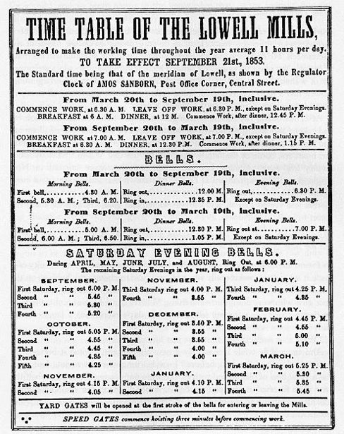 Time Table of the Lowell Mills