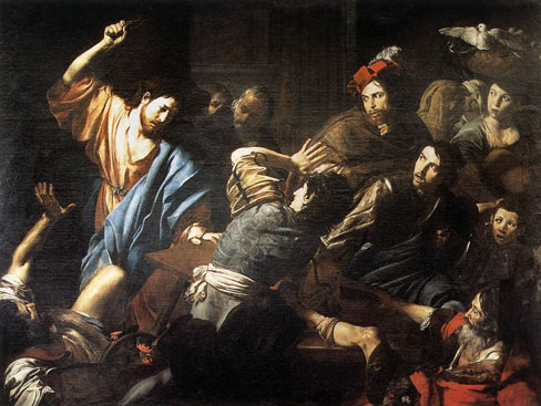Valentin de Boulogne, Christ Driving the Money Changers out of the Temple, c. 1618