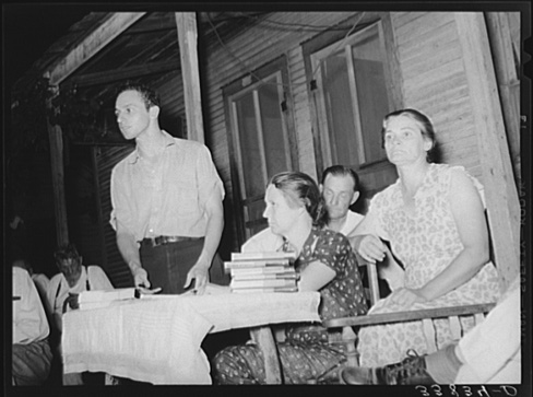 Russell Lee, Workers' Alliance Organizer Speaking at Meeting. Muskogee, Oklahoma. July 1939