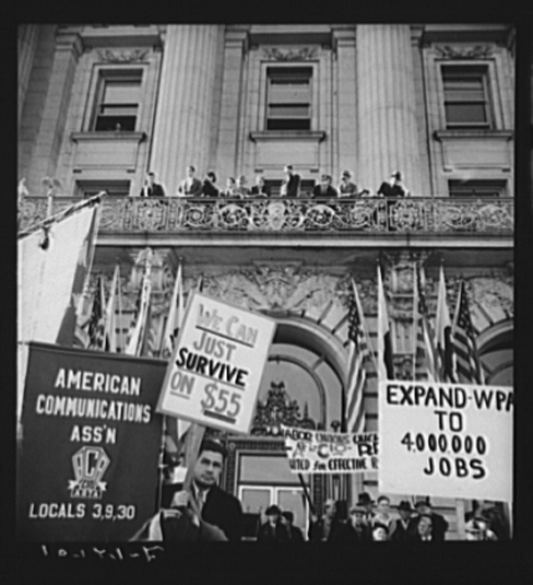 Dorothea Lange, In Front of City Hall, San Francisco, California, The Worker's Alliance, Works Progress Administration Organize Simultaneous Demonstrations in the Large Cities of the Nation Cut in the Relief Appropriation by the United States Congress, February, 1939
