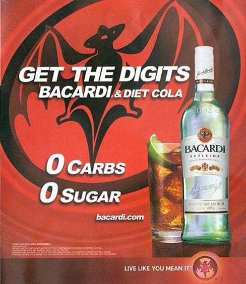 Bacardi and Diet Cola: 0 Carbs, 0 Sugar