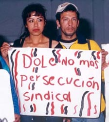DOLE NO MAS PERSECUCION SINDICAL