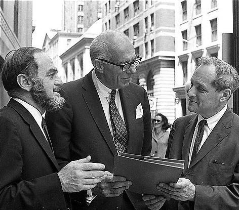 Victor Rabinowitz (left), Benjamin Spock (center), and Leonard Boudin (right), 1968.