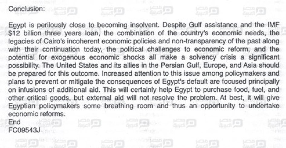 Excerpt From Report on Insolvency in Egypt