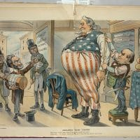 "Illustration shows a huge Uncle Sam getting a new outfit made at the ""McKinley and Company National Tailors"" with President McKinley taking the measurements. Carl Schurz, Joseph Pulitzer, and Oswald Ottendorfer stand inside the entrance to the shop and Schurz is offering Uncle Sam a spoonful of ""Anti-Expansion Policy"" medicine, a bottle of which each is carrying. On the right are bolts of cloth labeled ""Enlightened Foreign Policy"" and ""Rational Expansion."" The strips on Uncle Sam's trousers are labeled ""Texas, Louisiana Purchase, Alaska, Florida, California, Hawaii, [and] Porto Rico."" Caption: The Antis. Here, take a dose of this anti-fat and get slim again! Uncle Sam No, Sonny!, I never did take any of that stuff, and I'm too old to begin! Photo credit: <a href=""http://www.davidmhart.com/blog/C20111228141034/E20120715102406/index.html"">David M. Hart</a>"