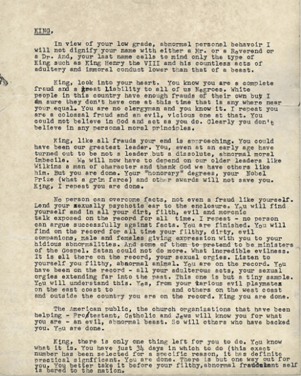 FBI letter anonymously mailed to Martin Luther King Jr's wife