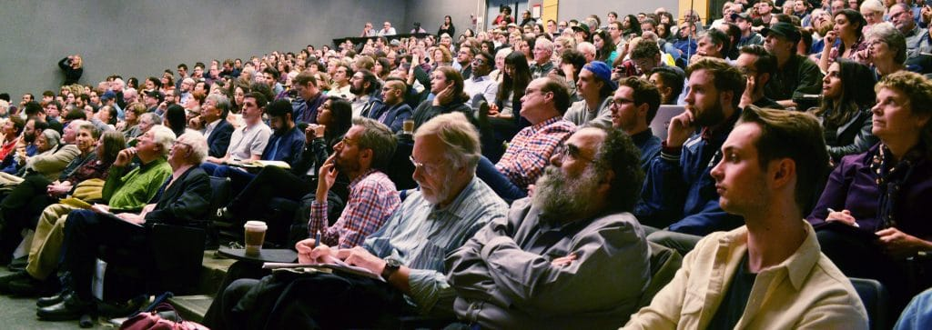 Attendees at one of the presentations in Vari Hall (image: Ravi Ishwardat)