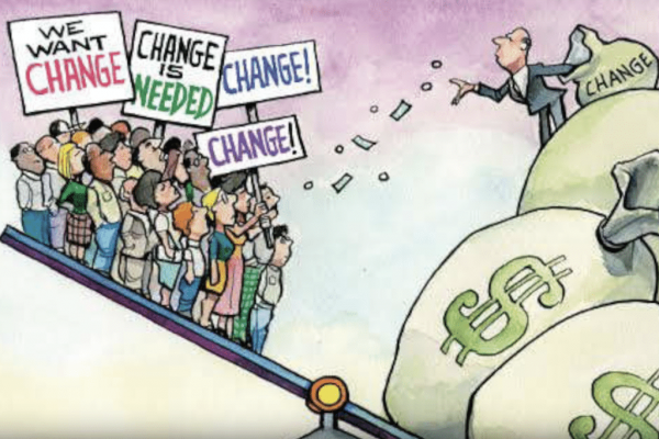"""Capitalists Tipping Scales """"Change"""""""