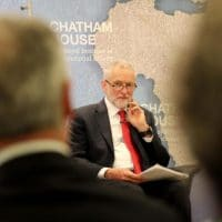 Jeremy Corbyn, leader of the Labour Party, prepares to give a speech on his party's foreign and defence policy at the Chatham House think-tank, during the 2017 UK general election campaign