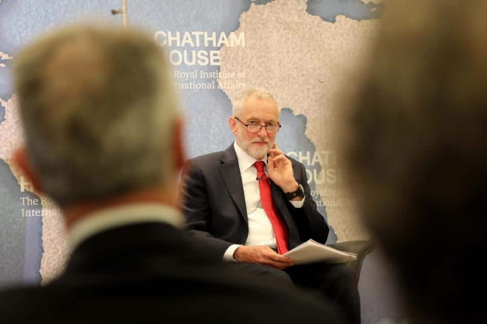 | Jeremy Corbyn leader of the Labour Party prepares to give a speech on his partys foreign and defence policy at the Chatham House thinktank during the 2017 UK general election campaign | MR Online