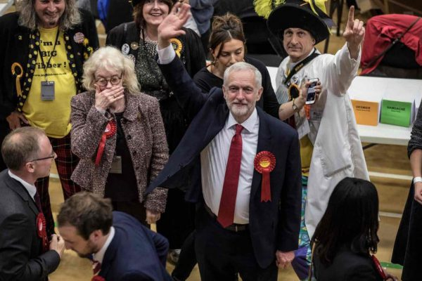 Jeremy Corbyn during the count at his Islington North constituency