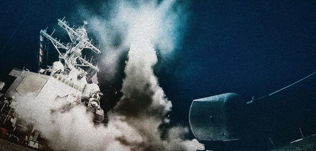 """Retaliation: Tomahawk missiles from the """"USS Porter"""" on the way to the Shayrat Air Base on April 6, 2017."""