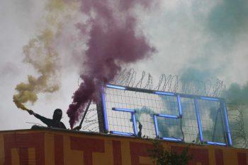 | Protester holds flare at antiG20 demonstration | MR Online