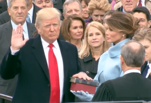 President Donald Trump being sworn in on Jan. 20, 2017. (Screen shot from Whitehouse.gov)