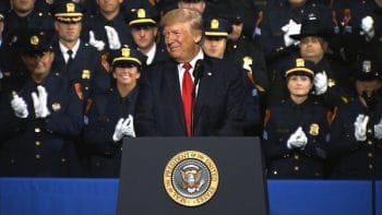 President Donald Trump spoke to Long Island law enforcement officers and officials Friday at Suffolk County Community College about their successes
