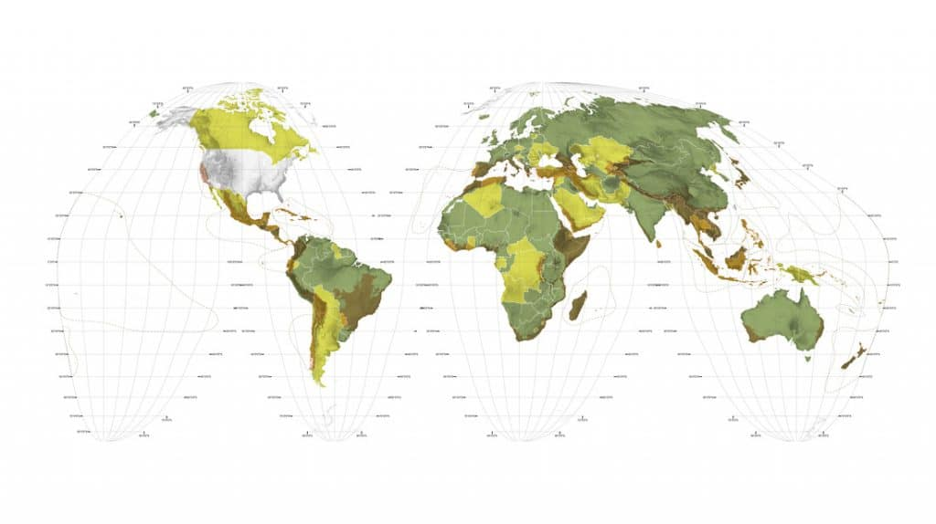 World Map Biodiversity. © 2017 Richard J. Weller, Claire Hoch, and Chieh Huang, Atlas for the End of the World