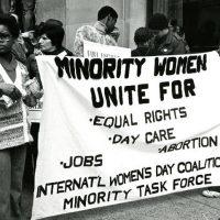 Women taking part in the International Women's Day march