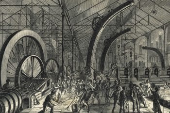 Grim conditions in nineteenth-century factories such as this one in Sheffield, UK, inspired Das Kapital