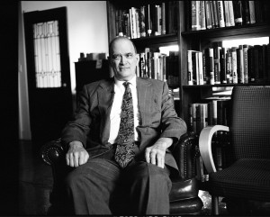 Former National Security Agency official William Binney sitting in the offices of Democracy Now! in New York City. (Photo credit: Jacob Appelbaum)