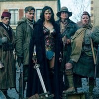 "Wonder Woman with her allies--""the humane members of the world community, represented by the U.S.–Chris Pine is the male lead and Gadot's love interest–and a ragtag support group that includes a Scot, a native American, and a generic Arab, presumably symbolizing 'moderate' Arab states like Saudi Arabia, Egypt and Jordan,"" writes Jonathan Cook (Photo: Clay Enos/Warner Bros)"
