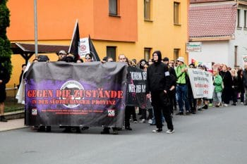 The counter-protest making its way through the town of Themar in the state of Thuringia