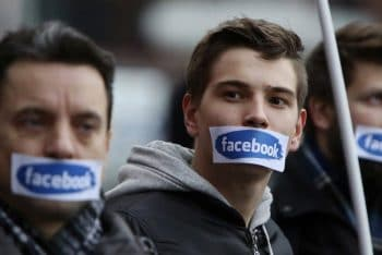 Right wing protesters in front of Facebook Offices in Warsaw, Poland, Saturday, Nov. 5, 2016