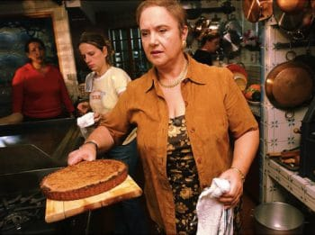 Lidia Bastianich (center) prepares before the taping of her food show in her home.