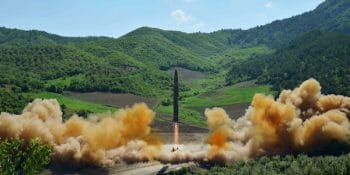 This picture taken by North Korea's official Korean Central News Agency (KCNA) shows the test-fire of the intercontinental ballistic missile, Hwasong-14, at an undisclosed location on July 4, 2017.