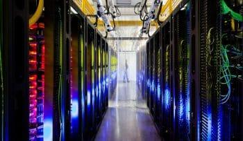 Google's campus-network room at their data center in Council Bluffs, Iowa. (Photo: Connie Zhou/AP).