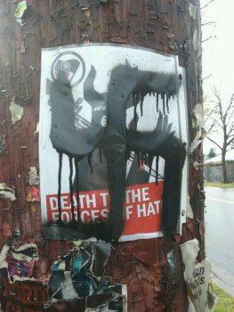 Graffiti on flyers in Whiteaker