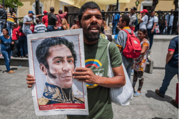 Chavistas gather around Venezuela's legislative Palace