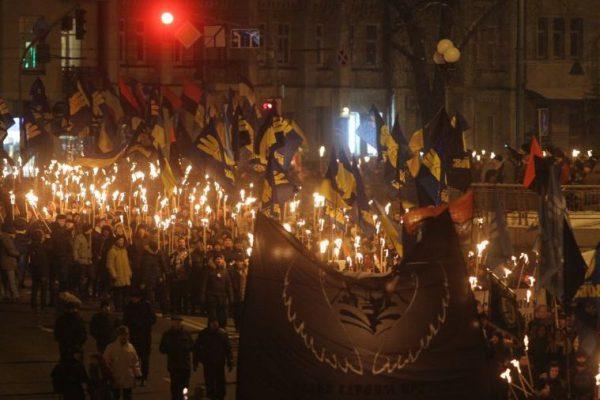 Fascist torch march in Kiev (1/28/2017)