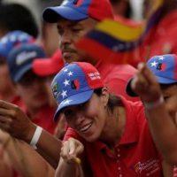 Venezuelan Chavistas in the streets supporting their revolution