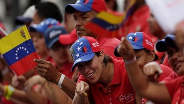 Venezuelan Chavistas in the streets supporting their revolution
