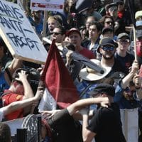 | Counter demonstrators clash with white supremacists at the entrance to Emancipation Park in Charlottesville US Steve HelberAP | MR Online