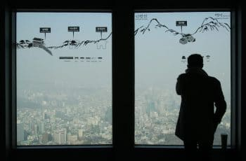 Man at Seouls Tower's.(AP/Ahn Young-joon)