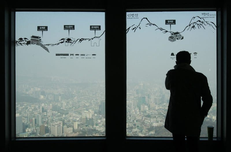 Man at Seouls Tower's.(AP/Ahn Young-joon)